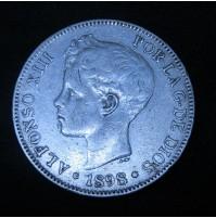 España - 5 Pesetas 1898 *18 *98 SG V Alfonso XIII