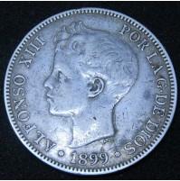 España - 5 Pesetas 1899 *18 *99 SG V Alfonso XIII