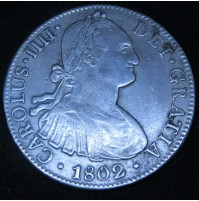 España - 8 Reales 1802 México FT Carlos IIII