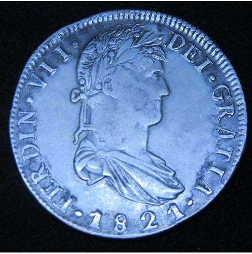 España - 8 Reales 1821 RG - Zacatecas (Fernando VII)