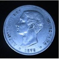 España - 5 Pesetas 1875 *18 *75 DE M - Alfonso XII