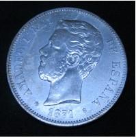 España - 5 Pesetas 1871 - Amadeo I - 18 74 de Plata