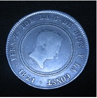 España - 10 Reales de 1821 Bilbao - Plata