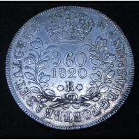 Brasil - 960 Reis sobre moneda de 8 reales en Plata de 1820 (R)