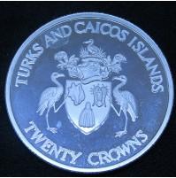 Turcas y Caicos - 20 Coronas de plata de 1992