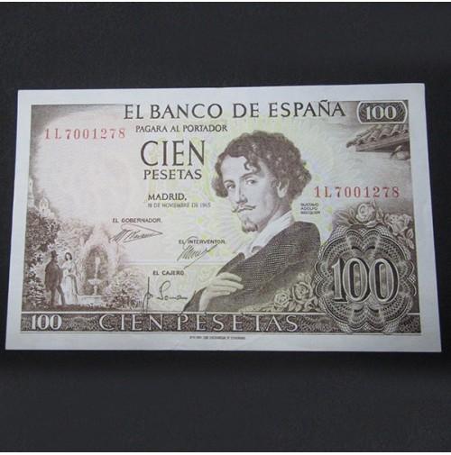 España - Billete de 100 pesetas de 1965 de Becquer Serie 1L Sin Circular