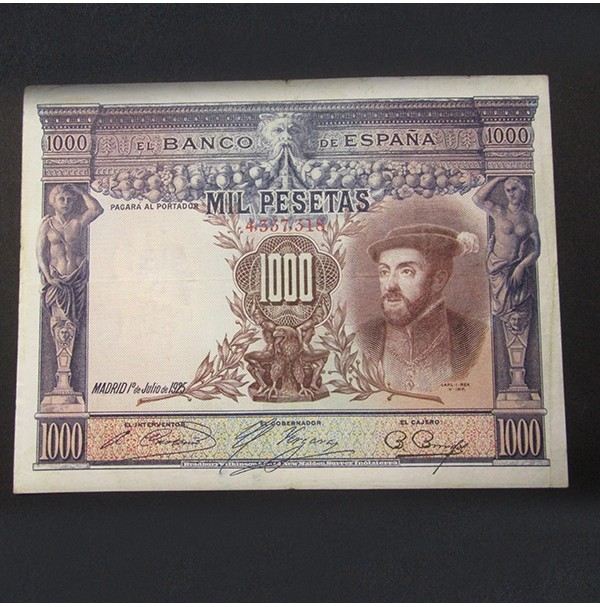 España - 1000 Pesetas 1925 - Carlos I - Sin Serie