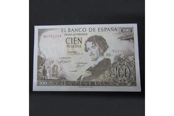 España - 100 Pesetas 1965 - Gustavo Adolfo Bécquer con ERROR
