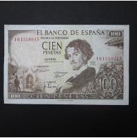 España - 100 Pesetas 1965 - Gustavo Adolfo Bécquer con ERROR de impresión en reverso