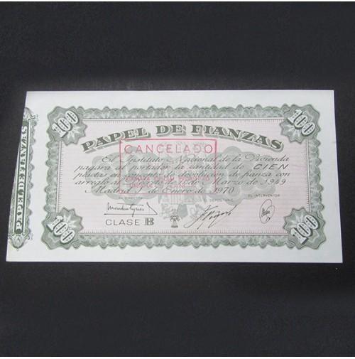 España - 100 Pesetas Papel de Fianzas 1949 Clase B