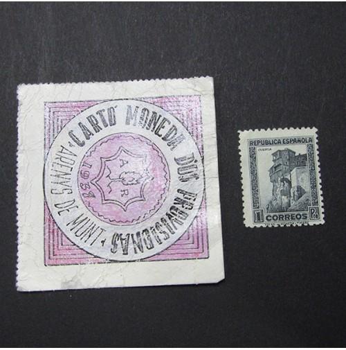 España - 1 Peseta Arenys de Munt 1937 (Cartón Moneda)