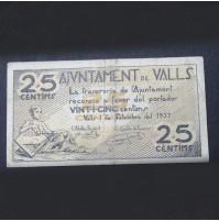 España - 25 Céntimos de Valls de 1937