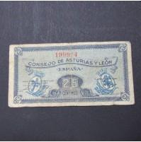 España - 25 Céntimos de El Consejo de Asturias y León de 1937