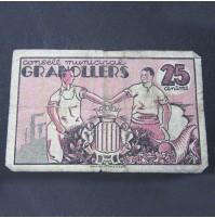 España - 25 Céntimos del Consejo Municipal de Granollers 1937