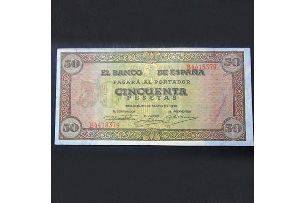 España - Pareja de Billetes de Burgos de 1938 (50 y 100 Pesetas)