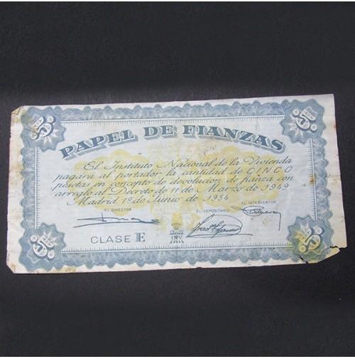 España - 5 Pesetas 1954 - Papel de Fianzas Clase E