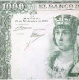 España - 1000 Pesetas 1957 - Reyes Católicos con ERROR (Sin Firma)