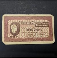 España - 0.25 Pesetas 1937 Consejo Municipal de Tobarra