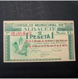 España - 1 Peseta 1937 Consejo Municipal Cuevas de Albacete