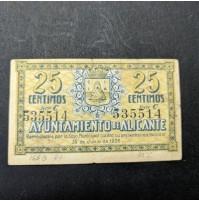 España - Lote de billetes de Alicante de 1937 - 25,50 céntimos y 1 peseta