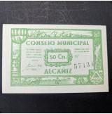 España - Lote de billetes de Alcañiz de 1937 de 25, 50 céntimos y 1 peseta