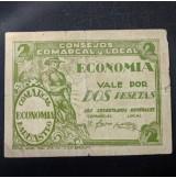 España - Pareja de billetes de 1 y 2 pesetas de Barbastro de 1937