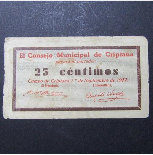 España - 25 Céntimos de El Consejo Municipal de Criptana 1937
