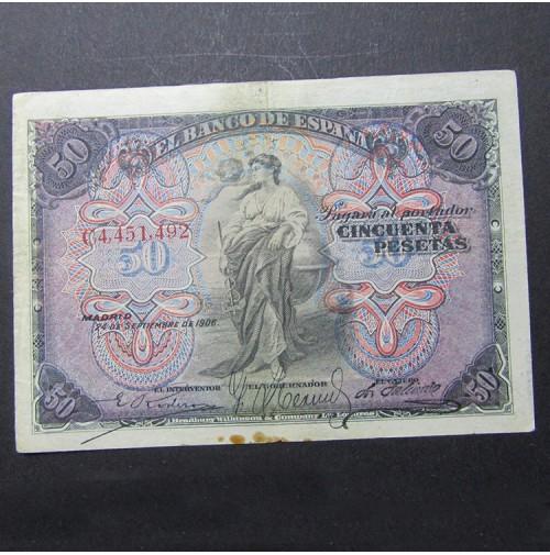 España - 50 Pesetas 1906 - Billete de El Banco de España
