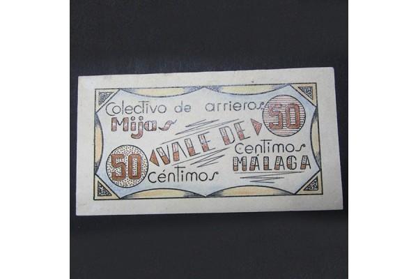España - 50 céntimos de 1937 Mijas (Málaga) - Billete Local