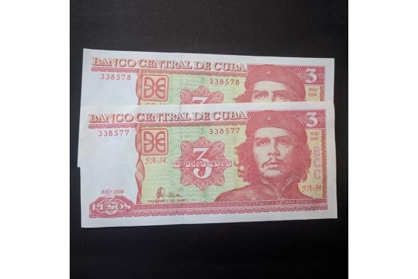 Cuba - Pareja de billetes de 3 pesos 2004