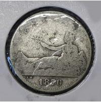 España - 1 Peseta 1870 SNM Plata