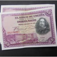 España - Lote de Billetes 50 pesetas 1928 - Lote 01