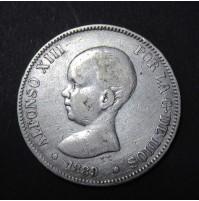 España - 5 Pesetas 1889 - Alfonso XIII Pelón