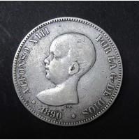 España - 5 Pesetas 1890 - Alfonso XIII Pelón 18 90