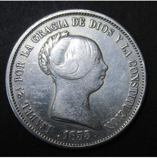 España - 20 Reales 1855 Isabel II - Madrid