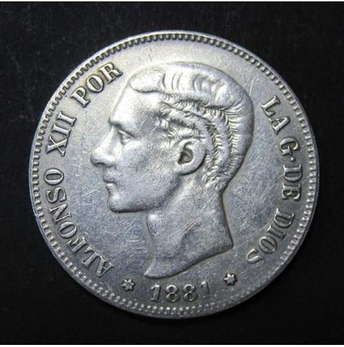 España - 5 Pesetas 1881- Alfonso XII