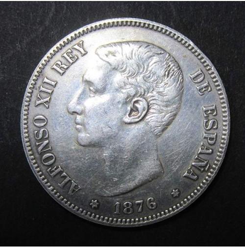 España - 5 Pesetas 1876 - Alfonso XII *18 *76