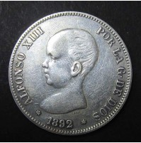 España - 5 Pesetas 1892 - Alfonso XIII Pelón 18 92