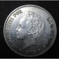 España - 5 Pesetas 1893 - Alfonso XIII Pelón 18 93