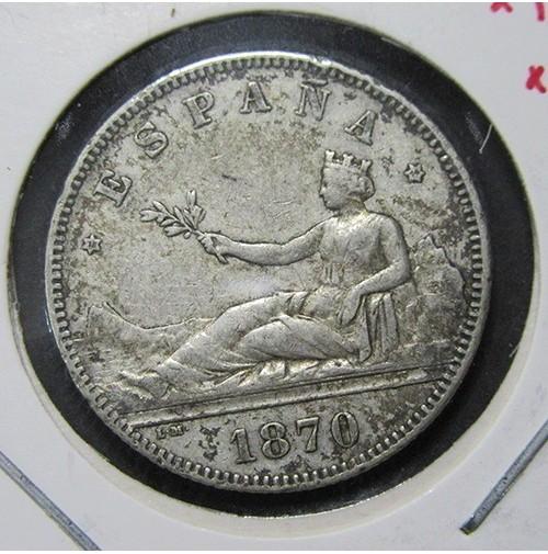 España - 2 Pesetas 1870 *18 *74