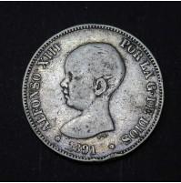 España - 5 Pesetas 1891 - Alfonso XIII Pelón