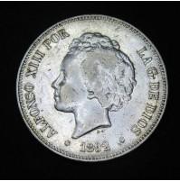 España - 5 Pesetas 1892 - Alfonso XIII Flequillo 18 92