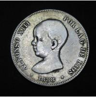 España - 5 Pesetas 1888 - Alfonso XIII Pelón