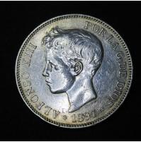 España - 5 Pesetas 1897 - Alfonso XIII Flequillo 18 97