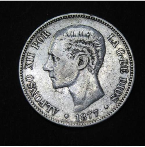 España - 5 Pesetas 1877 - Alfonso XII