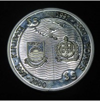 Kiribati y Samoa - 5 Dólares 1997-2000 Plata