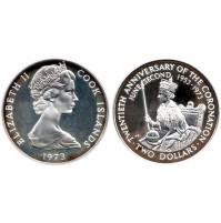 Islas Cook - 2 Dólares de Plata 1973