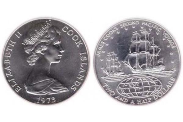 Islas Cook - 2 1/2 Dólares de Plata 1973