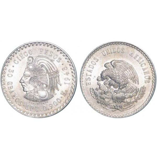 México - 5 Pesos de Plata 1948 Cuauhtemoc