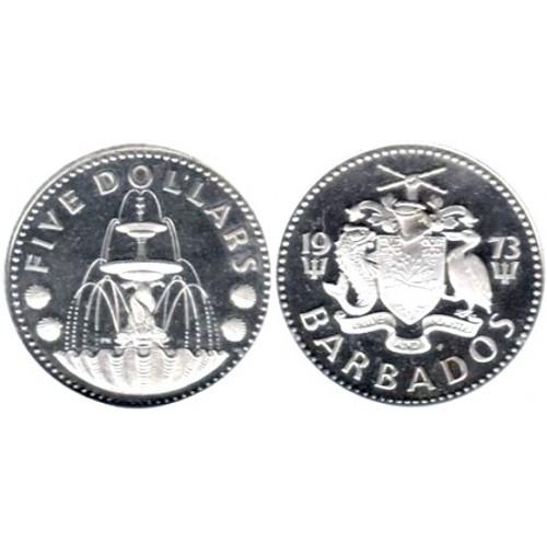 Barbados - 5 Dólares de 1973